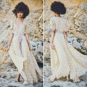 LoveShackFancy Coralie Yellow Floral Maxi Dress